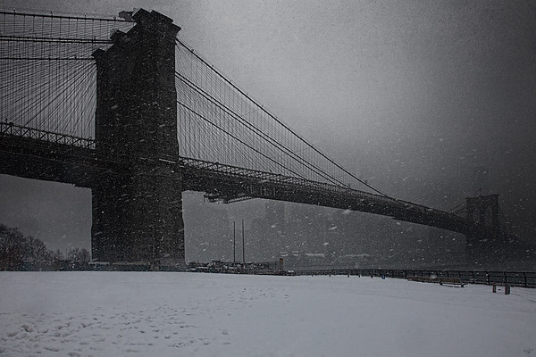 Snowstorm At The Brooklyn Bridge