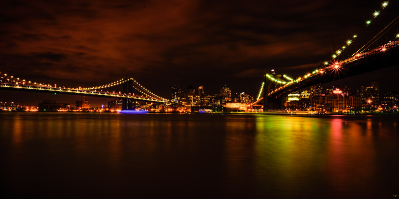 The Manhattan & Brooklyn Bridges at Night