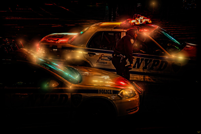 NYPD Automobiles at Night