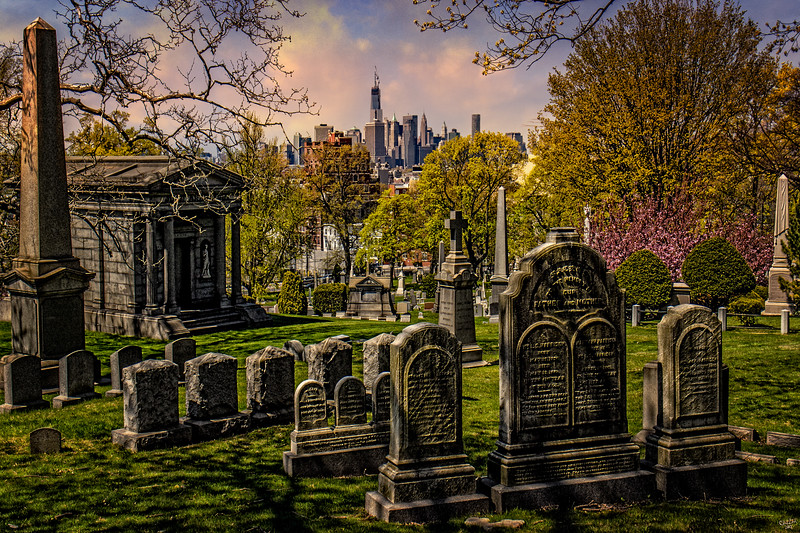 A View Towards The City From A Brooklyn Cemetery