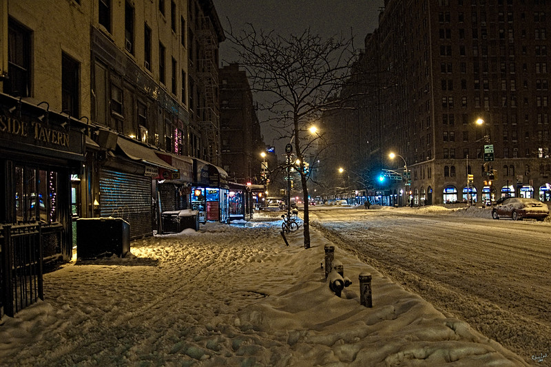 Snow on 23rd Street and 9th Avenue at 6:00 am, NYC