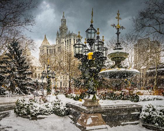 Snow Falls On City Hall