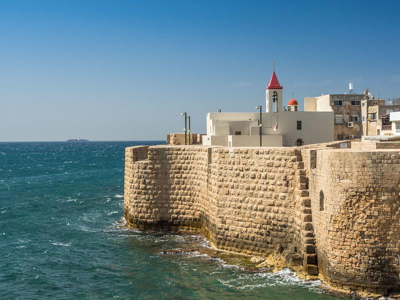 St. John's Church and the Old City Walls, Akko, Israel