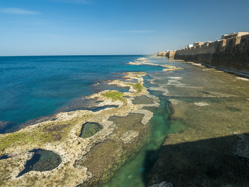 Underwater Ruins of Ancient City Wall, Akko, Israel