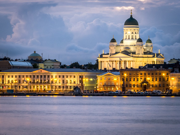 Helsinki Cathedral Alight from the Waterfront, Finland