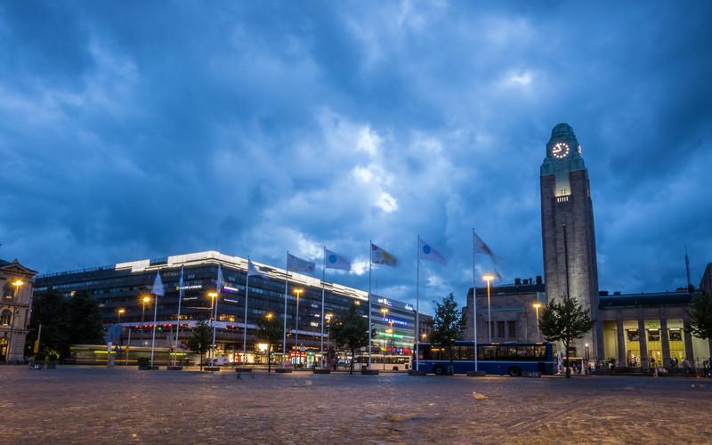 Helsinki Train Station Under Stormclouds