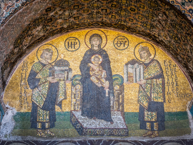 Constantine and Justinian Before Mary and Christ, Hagia Sophia, Istanbul, Turkey