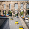 Taxis and the Ancient Aqueduct, Istanbul