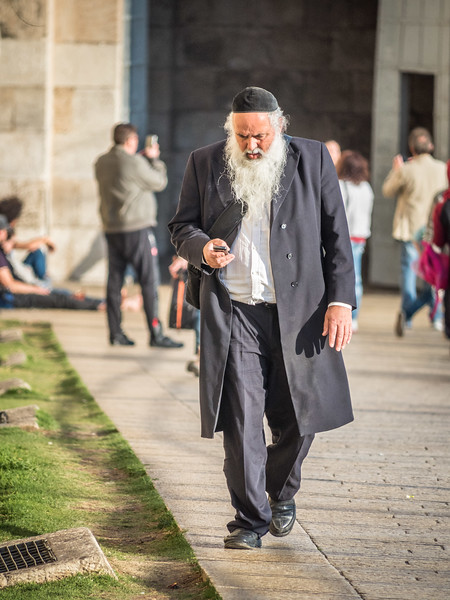 Texting at Jaffa Gate, Jerusalem