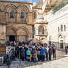 Pilgrims outside the Church of the Holy Sepulchre, Jerusalem