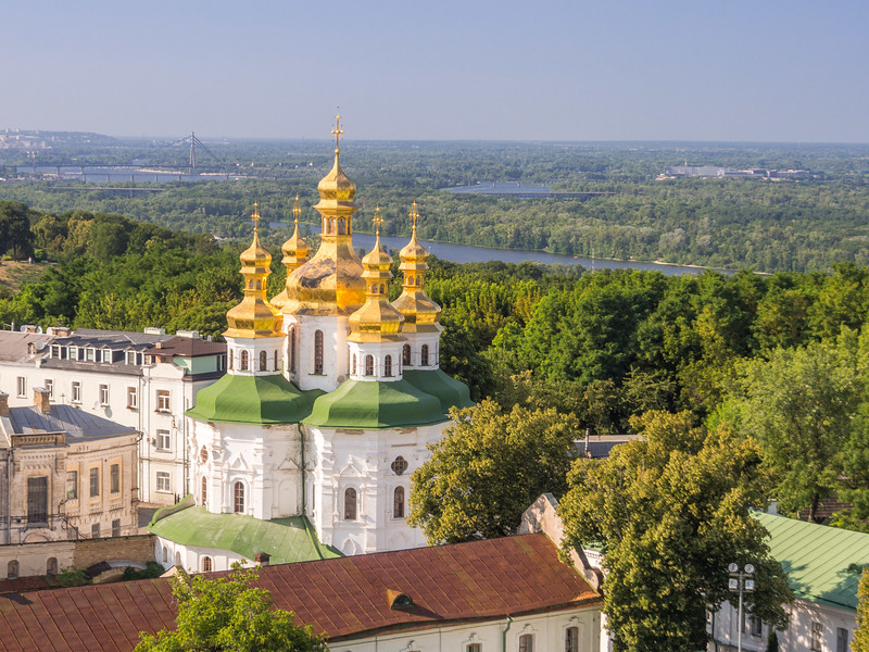 All Saints Church and the Sprawling Dnieper Forests, Kiev, Ukraine