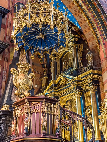 Ornate Pulpit, St Mary's Basilica, Kraków