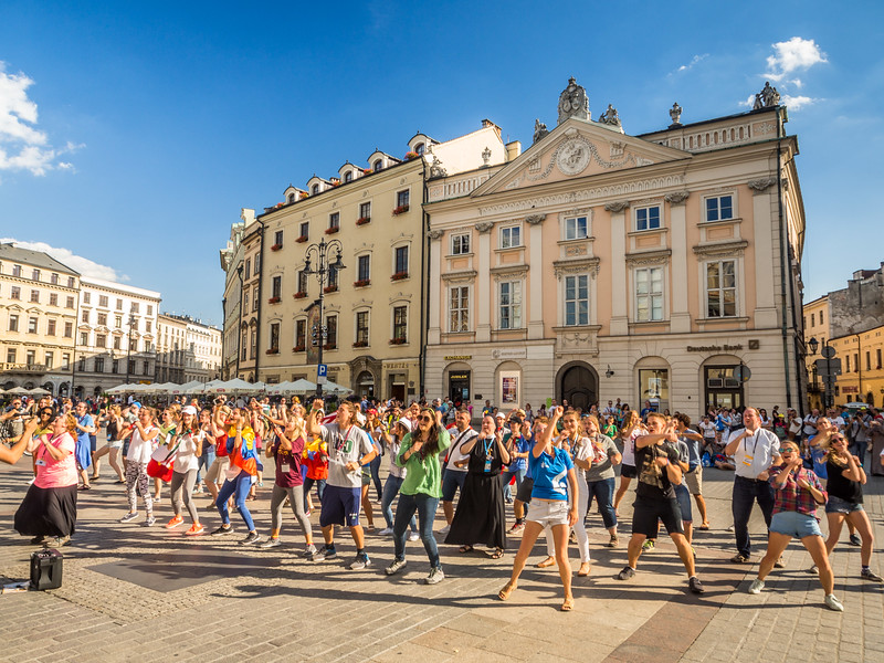 Dancing Catholics on Rynek Square, Kraków, Poland