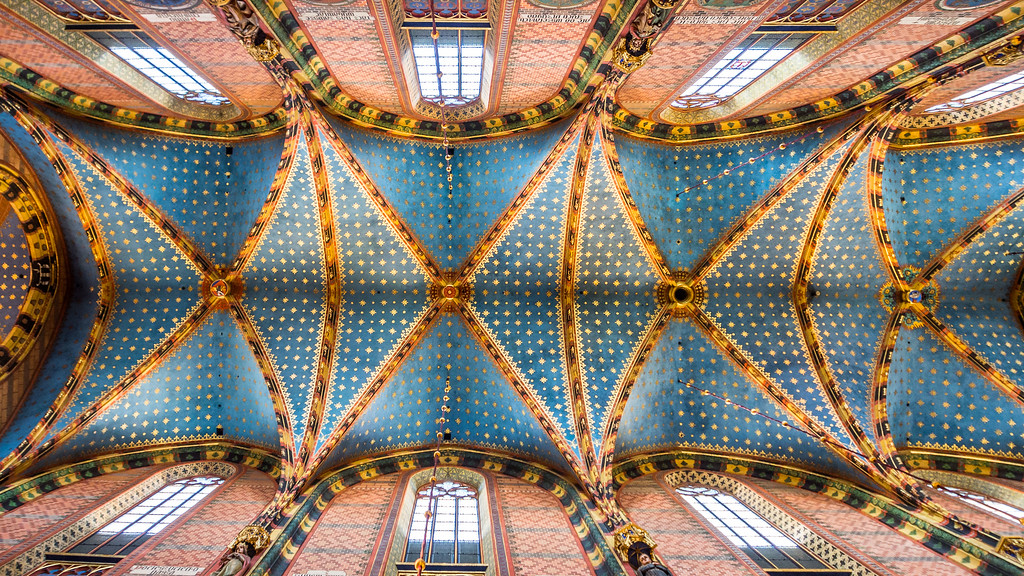 Ceiling of St Mary's Basilica, Kraków, Poland