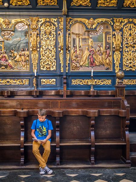 Resting Boy inside St Mary's Basilica, Kraków