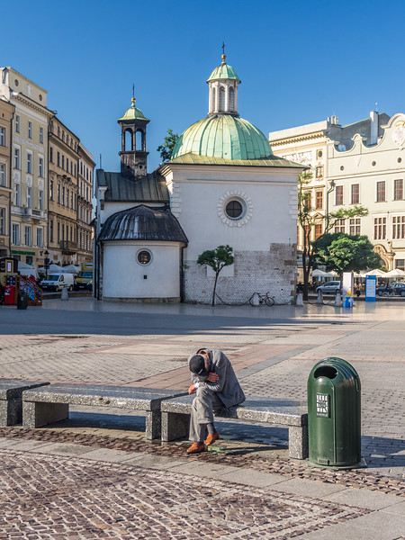 Man Sleeping on Bench, Kraków