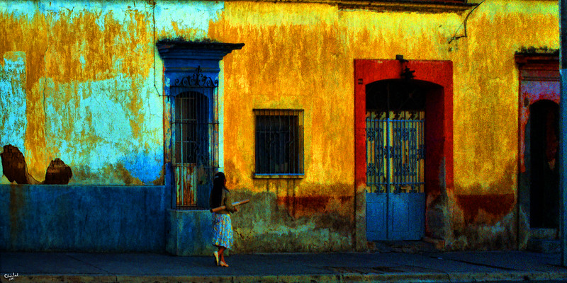 Young Mexican Girl Delivering A Pixielated Pixels Picture In Oaxaca