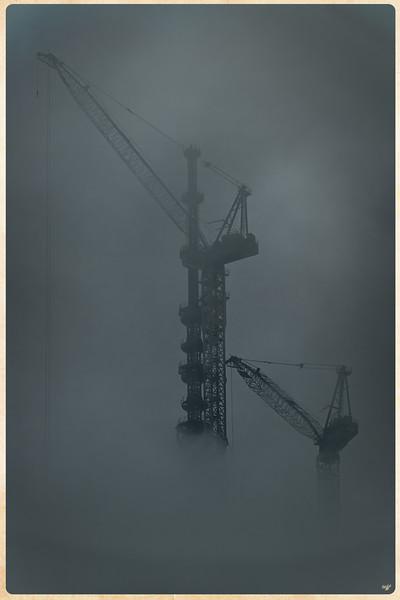 One World Trade Center Cranes In Fog