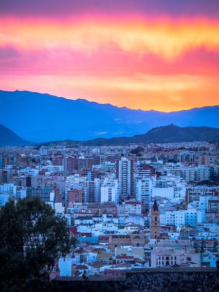 Sunset Fire over Málaga