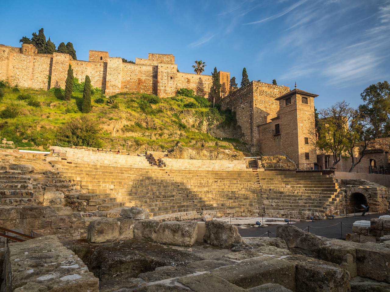 Evening on the Roman Ruins and Alcazaba, Málaga