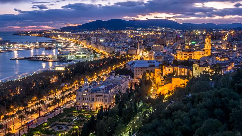 Night over Málaga, Spain