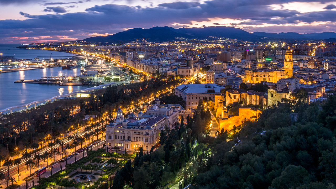 Night over Málaga, Spain