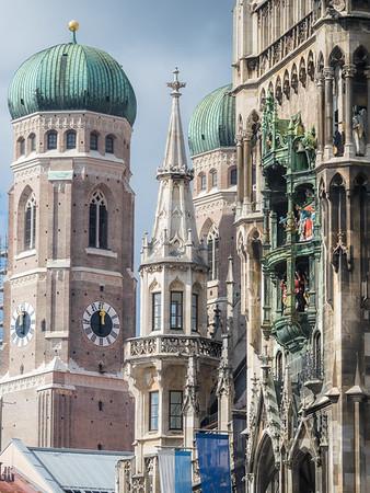 Closeup of the Rathaus and Frauenkirche, Munich