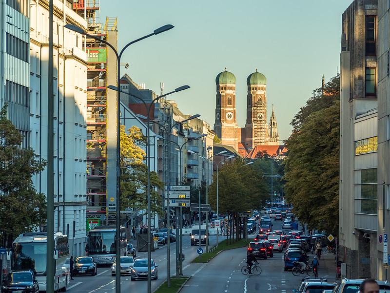 The Frauenkirche from Marsstraße, Munich, Germany
