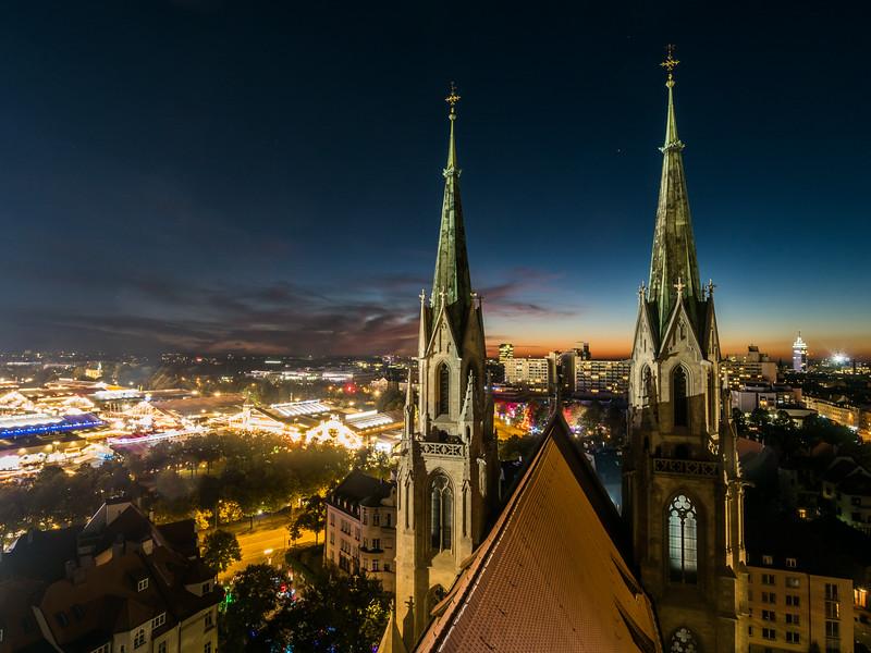 Oktoberfest Night from St. Paulskirche, Munich, Germany