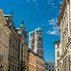 The Frauenkirche from a City Street, Munich, Germany