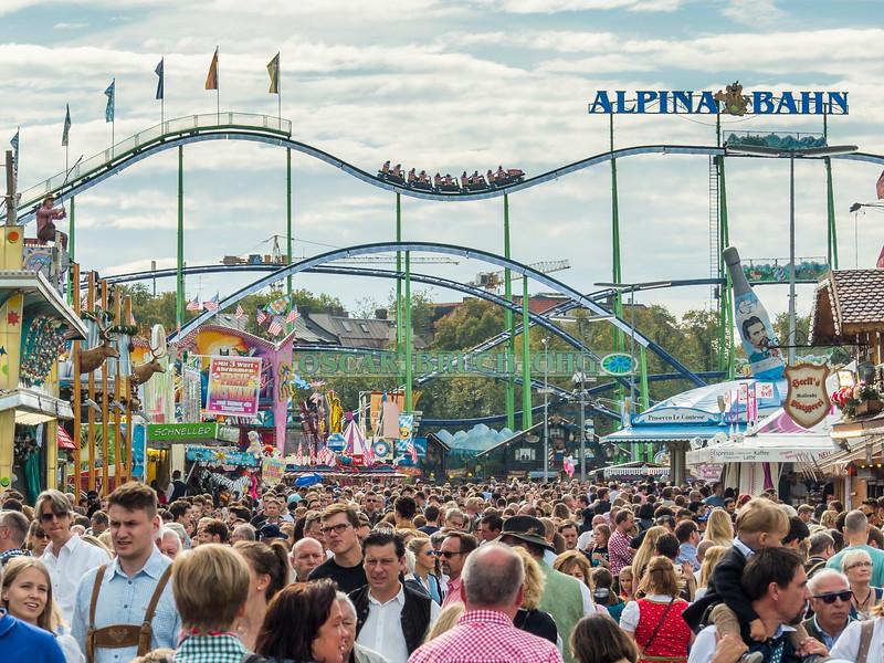Oktoberfest Roller Coaster and Crowds, Munich, Germany
