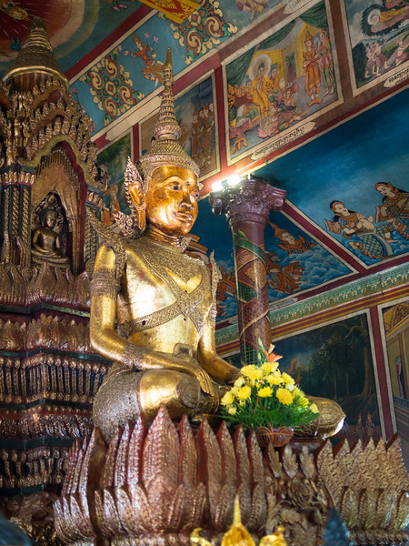 Buddha and Flowers, Wat Phnom, Phnom Penh