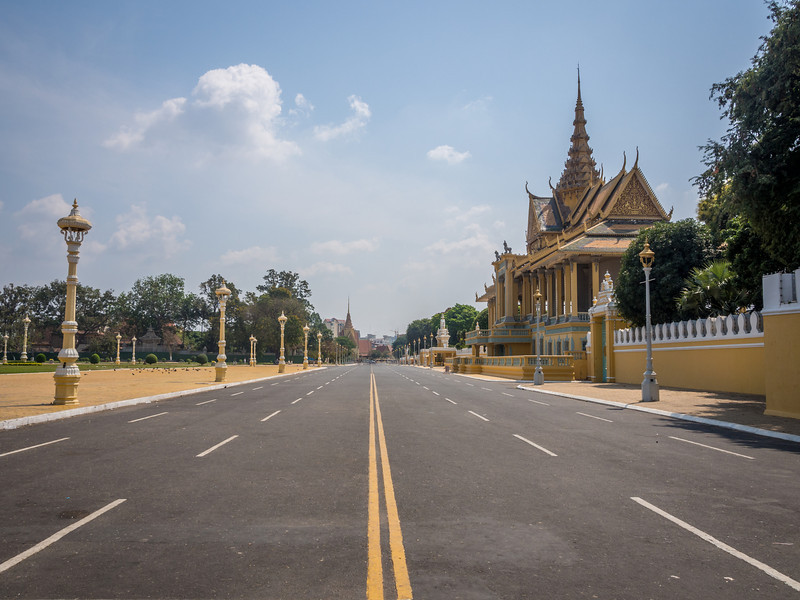 Street and Park outside the Royal Palace, Phnom Penh