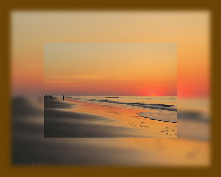 This is a picture within a picture of a morning sunrise at Hilton Head