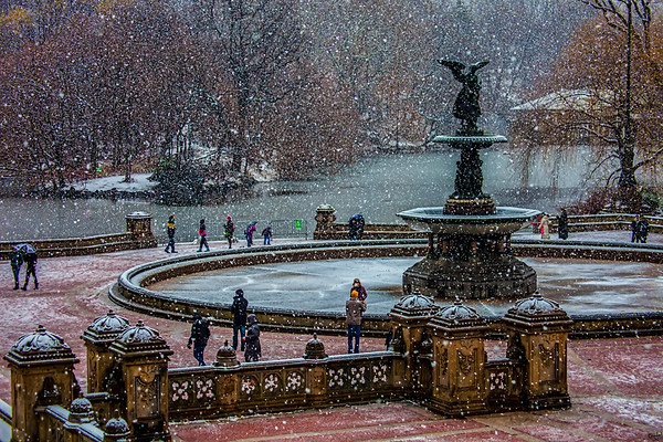 Snow Flurries At Bethesda Terrace