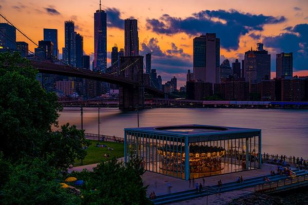 Brooklyn Bridge Park At Sundown