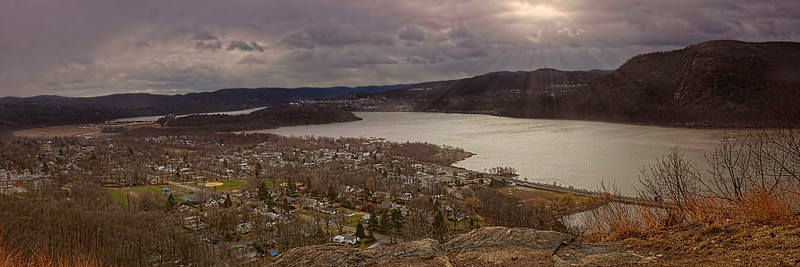 Cold Spring Panorama, The village from the Hudson Highlands, Westpoint in the far distance