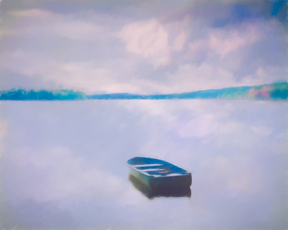 Dawn Lake Misty Watercolor
