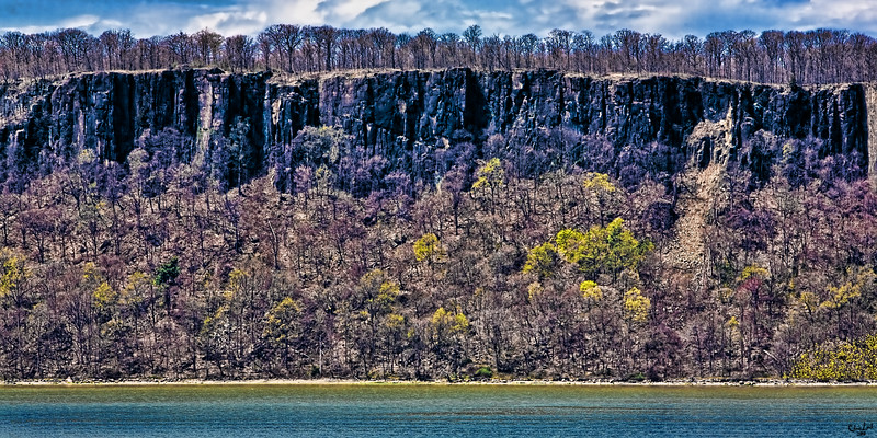 The Palisades Viewed Across The Hudson River In Early Spring