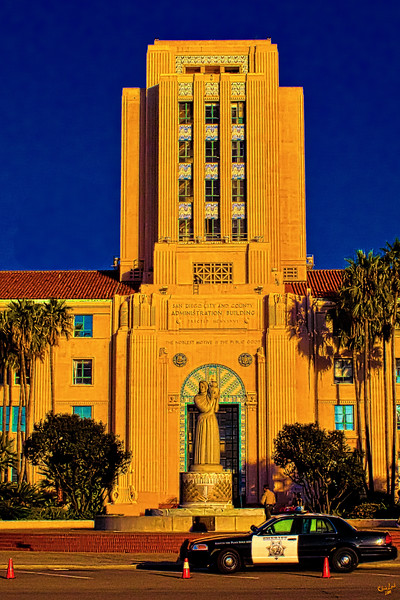 San Diego City Administrative Building at Sunset