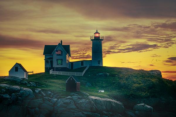 The Nubble Lighthouse At Sunrise