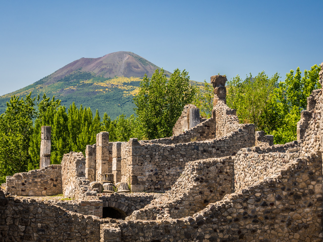 Ruined Walls and the Volcano, Pompeii, Italy