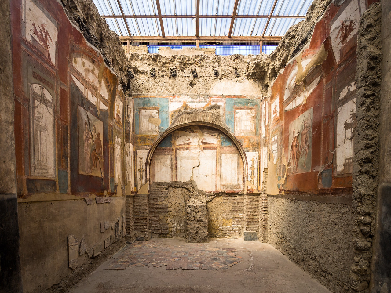 Frescoes inside the Temple of Augustali, Herculaneum