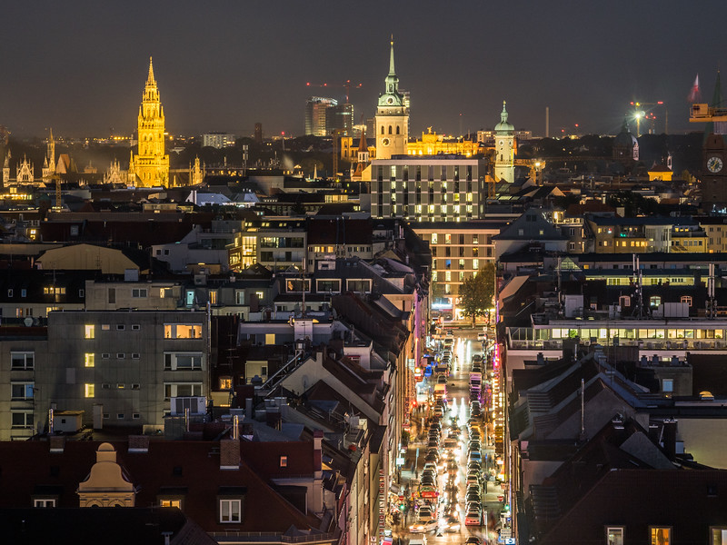 Munich Rooftops at Night, Germany