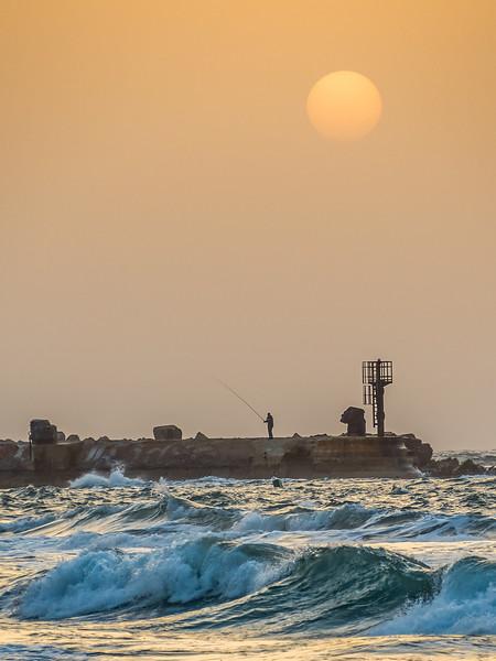 Sunset Fisherman, Tel Aviv, Israel