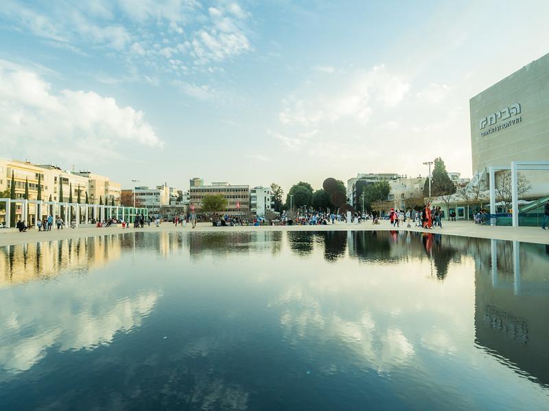 Reflection on Leonard Bernstein Square, Tel Aviv, Israel