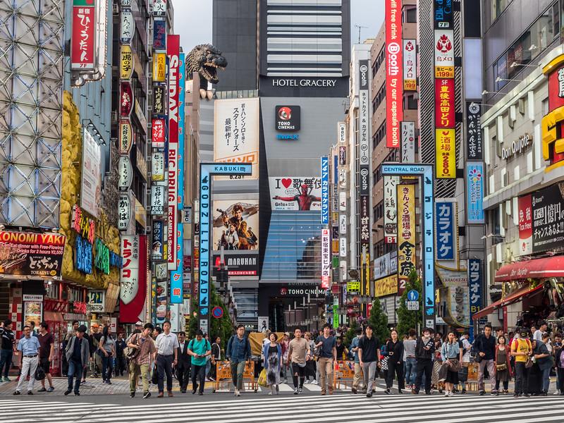 Crossing the Street in Shinjuku, Tokyo, Japan