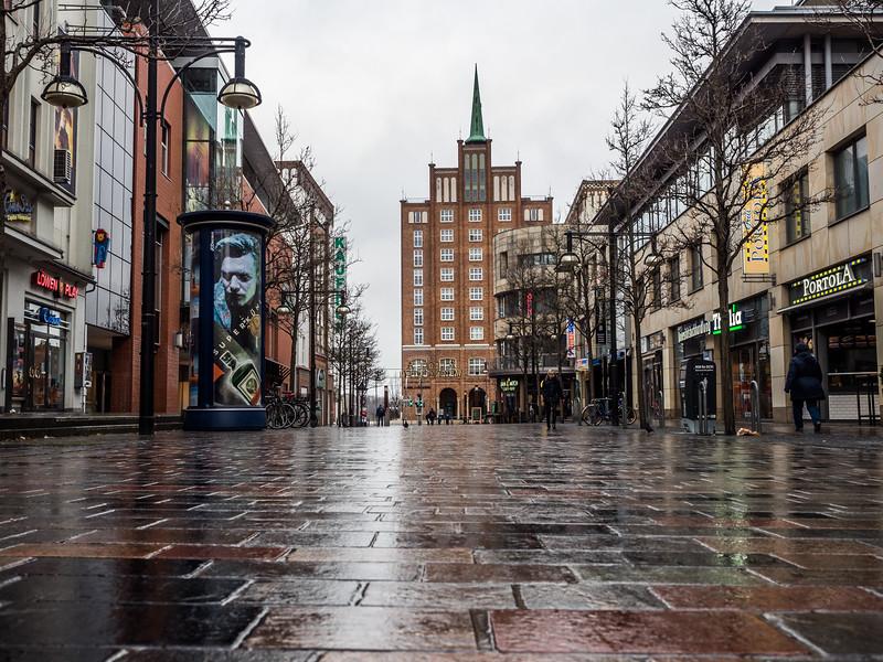 Rainy Street in Rostock, Germany