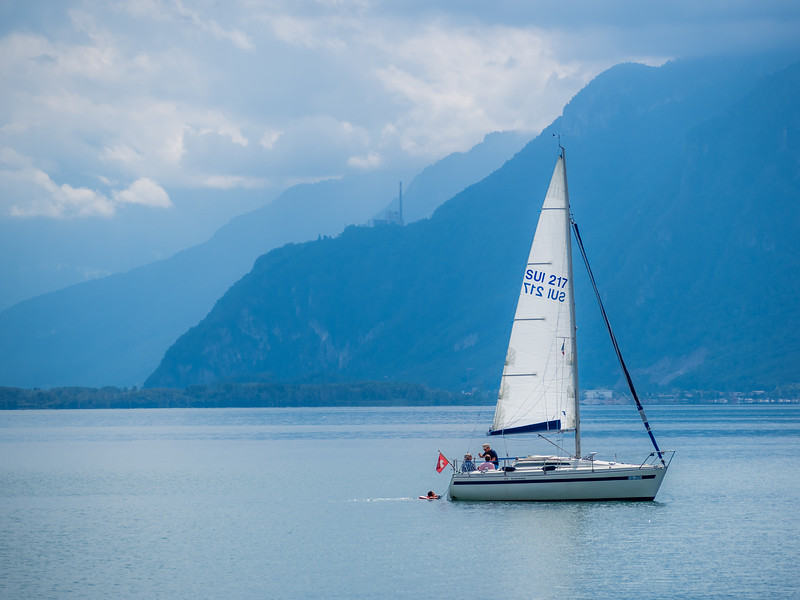 Sailboat and Distant Alps, Lake Geneva, Switzerland