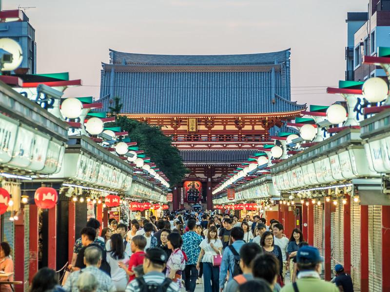 The Hozomon Gate and the Nakamise Market, Tokyo, Japan